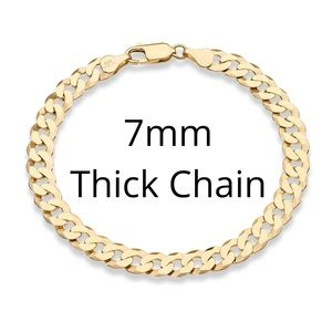 Men's Solid Gold/925 Sterling Silver Cuban Chain